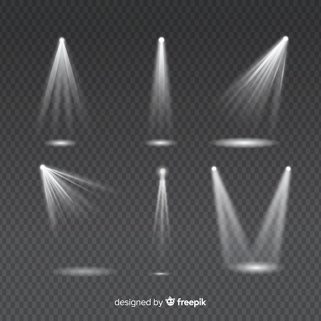 Set of light rays for white lighting illumination on transparent Free Vector