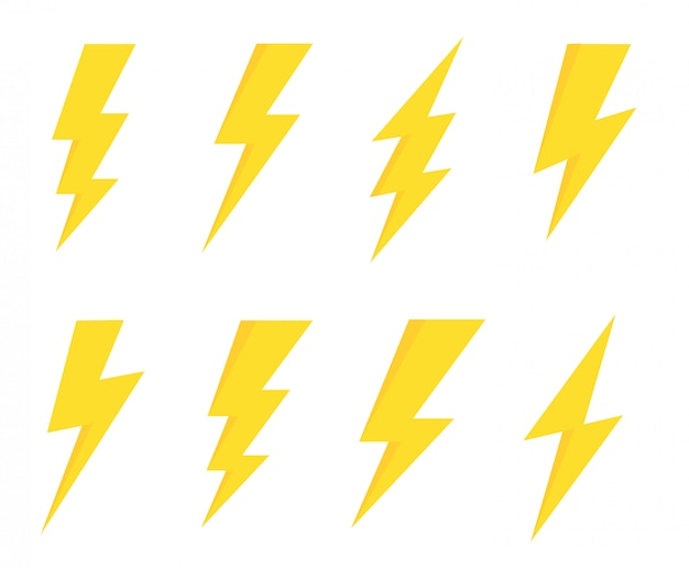 Set lightning bolt. thunderbolt Premium Vector