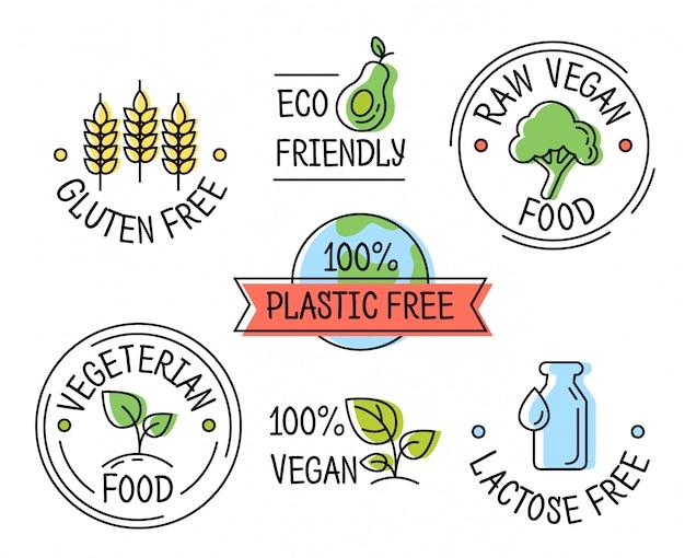 Set of line eco logo icons, gluten, plastic, lactose free labels, vegetarian food Premium Vector