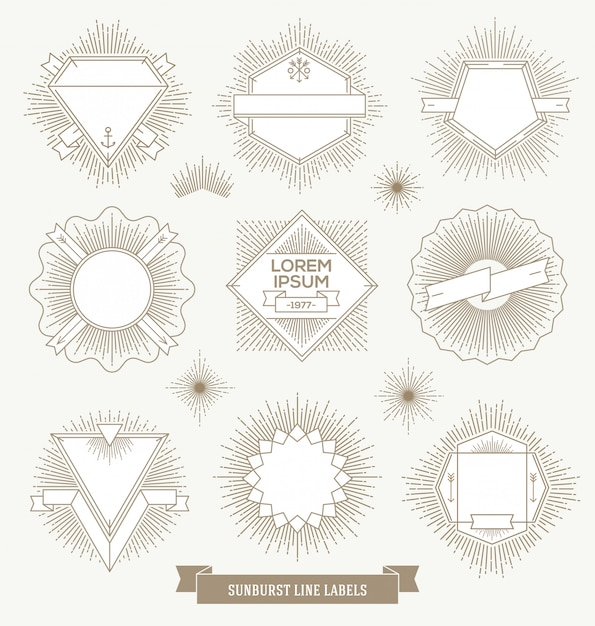 Set of line  emblem, sign and hipster labels with sunburst rays Premium Vector