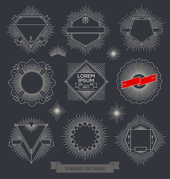 Set of line  emblem, sign and labels with sunburst rays Premium Vector