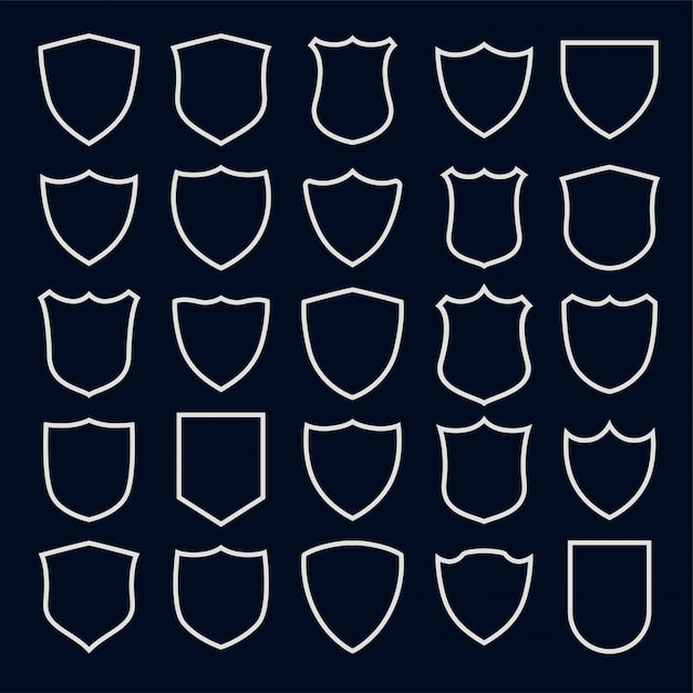 Set of line style shield symbols and icons Free Vector
