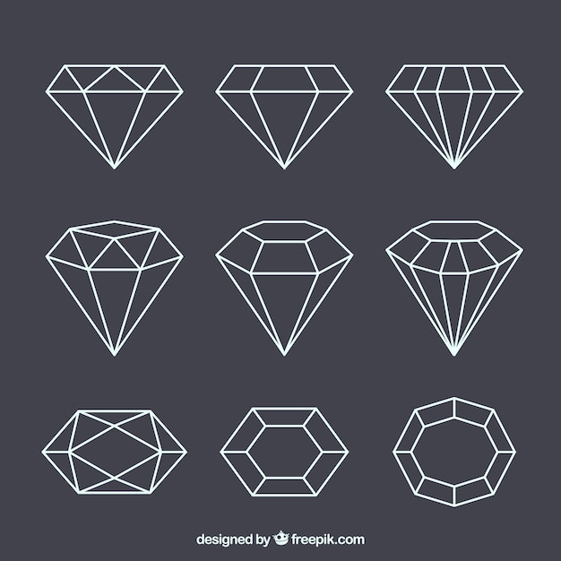 Set of lineal gems Free Vector