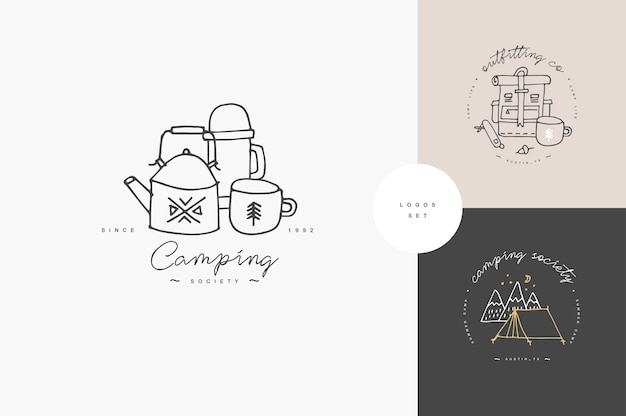 Set of linear camping and hiking icons or logos . traveling emblem or round badge with traveling staff. Premium Vector