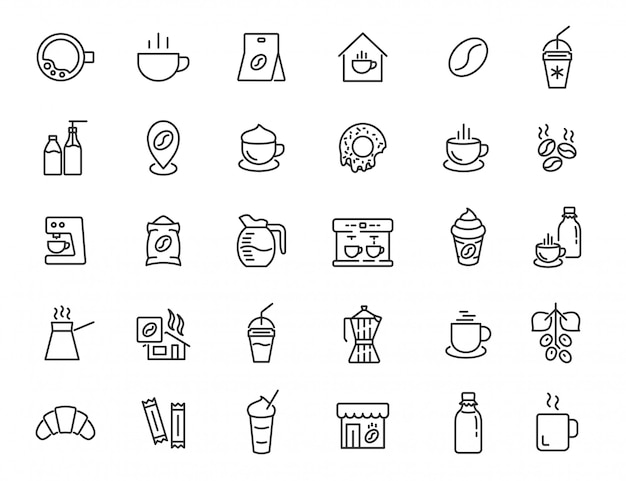 Set of linear coffee house icons. coffee drink icons in simple design. vector illustration Premium Vector