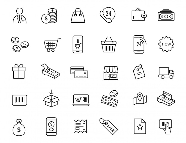 Set of linear e-commerce icons. shopping icons in simple design. Premium Vector