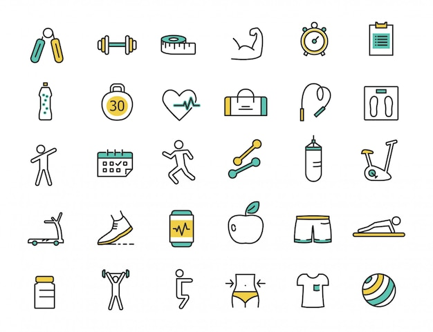 Set of linear fitness icons gym icons Premium Vector
