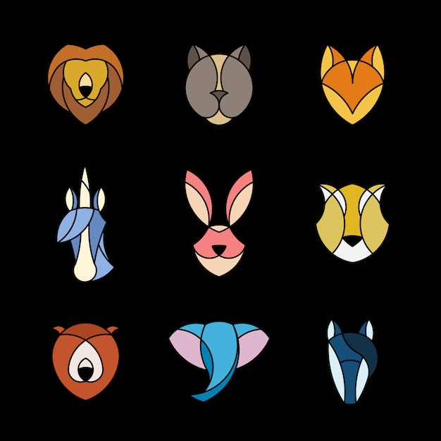 Set of linear graphic of animal heads Free Vector