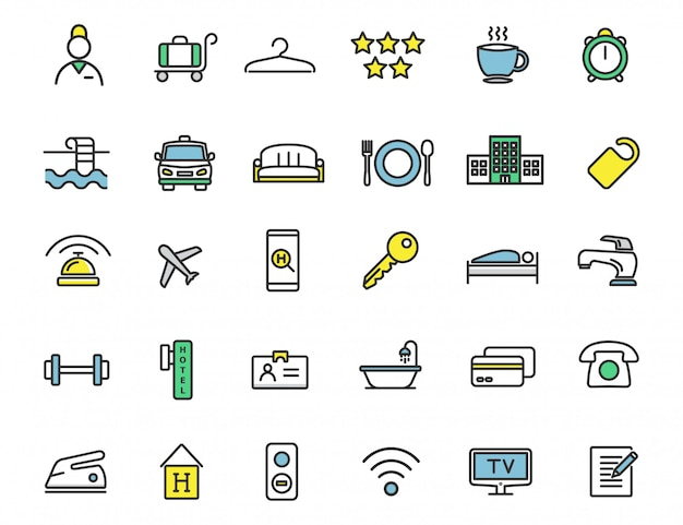 Set of linear hotel icons travel icons Premium Vector