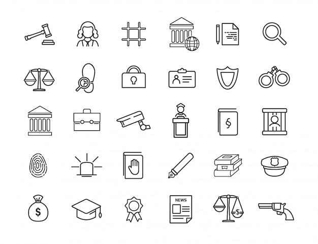 Set of linear jurisprudence icons. law icons in simple design. Premium Vector