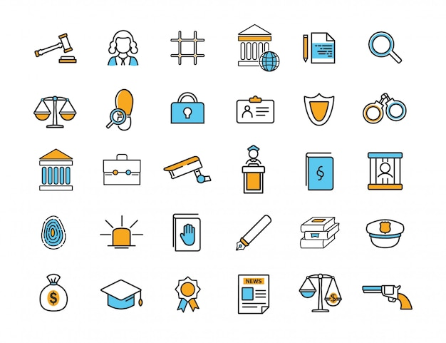 Set of linear jurisprudence icons law icons Premium Vector