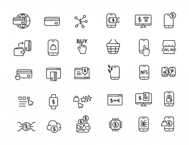 Set of linear online payment icons Premium Vector