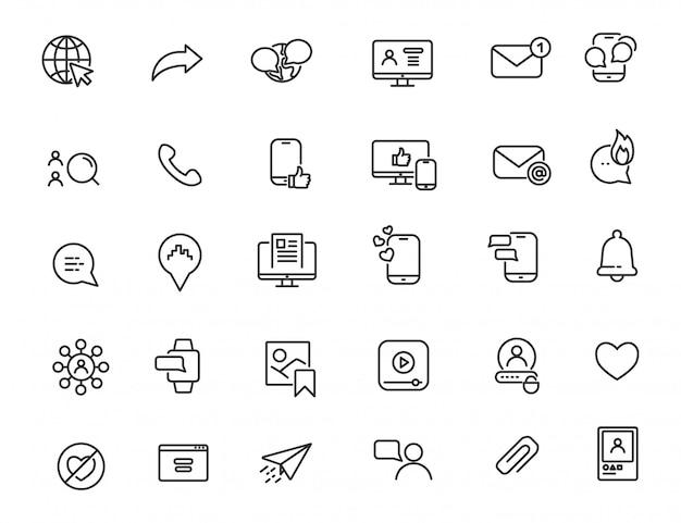 Set of linear social media icons Premium Vector