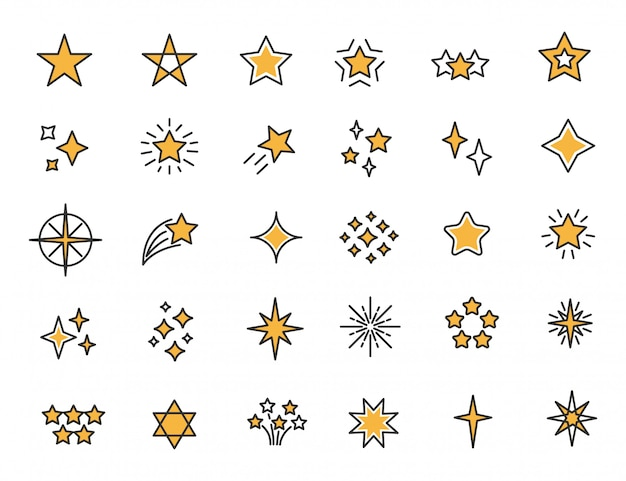 Set of linear stars icons stars twinkle icons Premium Vector