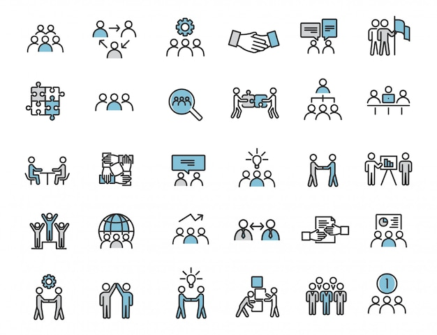 Set of linear teamwork icons communication icons Premium Vector