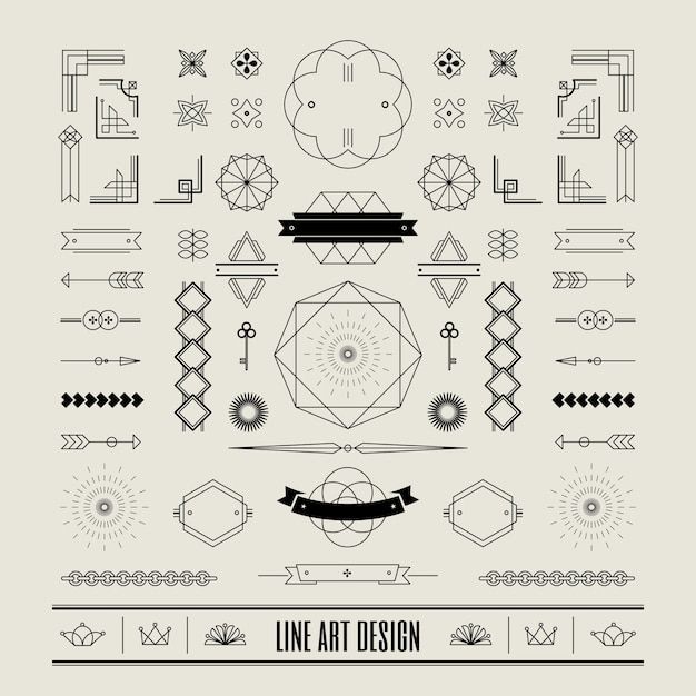Set of linear thin line art deco retro vintage design Premium Vector