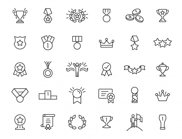 Set of linear trophy icons. award icons in simple design. vector illustration Premium Vector