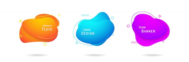 Set of liquid abstract vector design Premium Vector