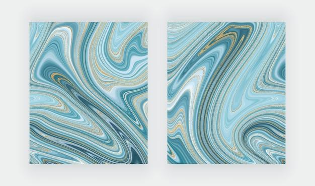 液体大理石のテクスチャを設定します。青と金色のキラキラ水墨画抽象。 Premiumベクター