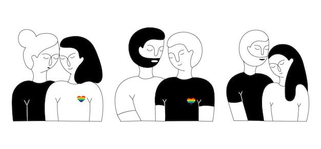 A set of lisbian couple, gay couple and heterosexual couple. Premium Vector