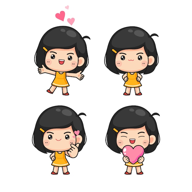 Set of little cute girl in many pose Premium Vector