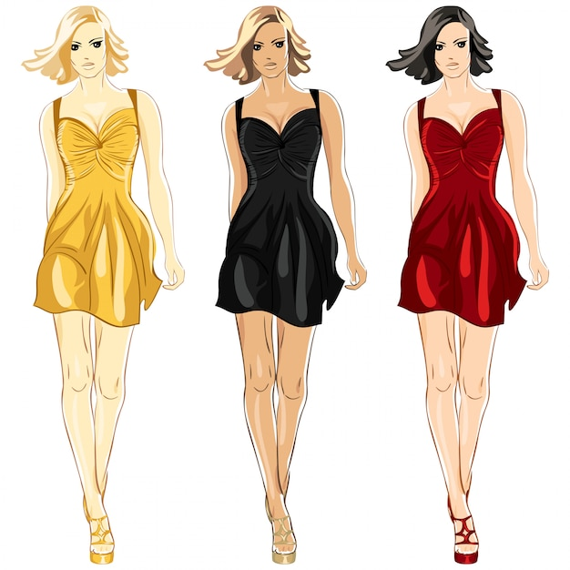 Set of little dress black, red and gold colors Premium Vector