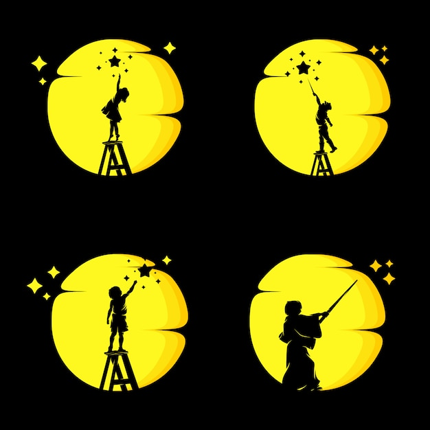 Set of little kids reach dreams on the moon Premium Vector
