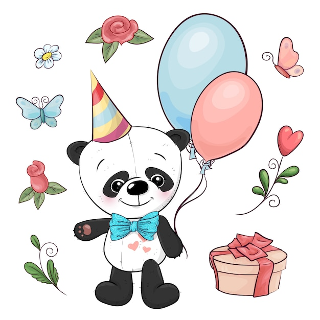 Set of little panda and flowers. hand drawing. vector illustration Premium Vector