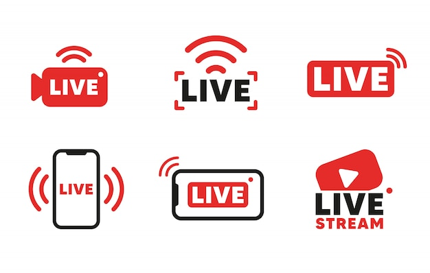 Set of live streaming icons and video broadcasting. smartphone screen for online broadcast, streamin