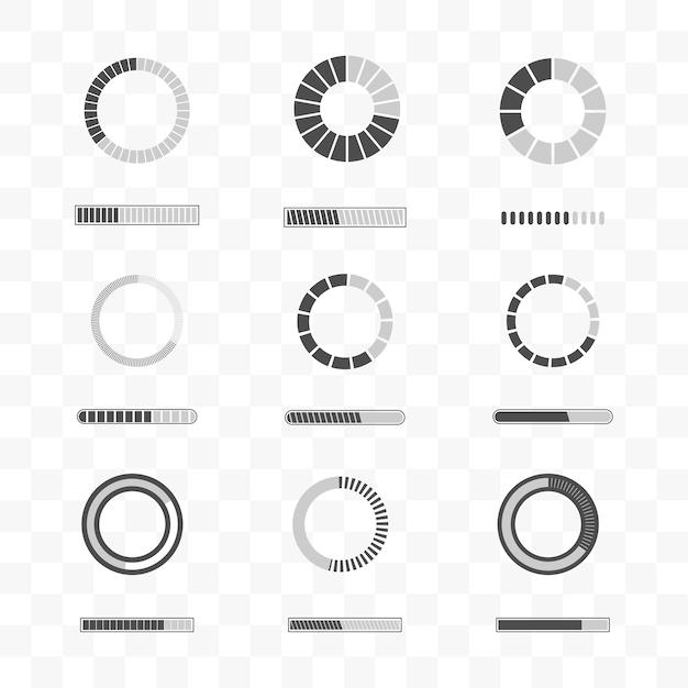 Set of loading and progress bar icon template Premium Vector