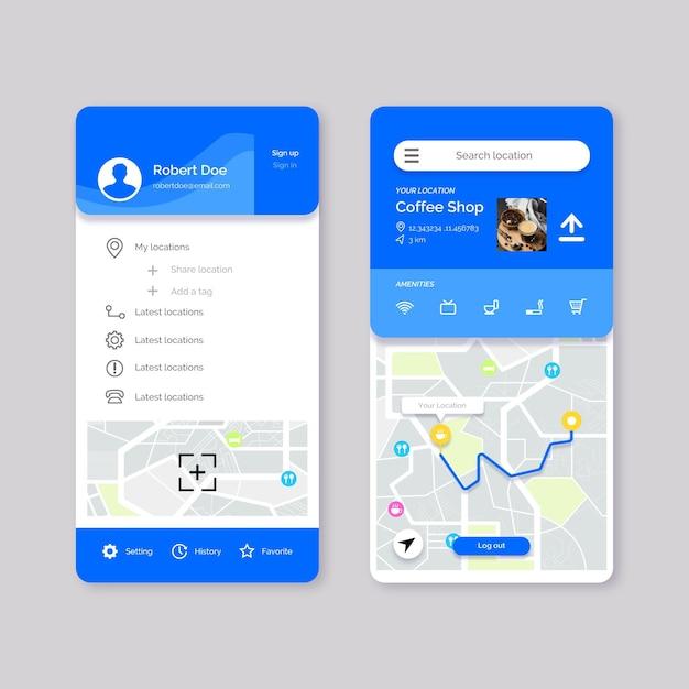 Set di schermate delle app di localizzazione Vettore gratuito