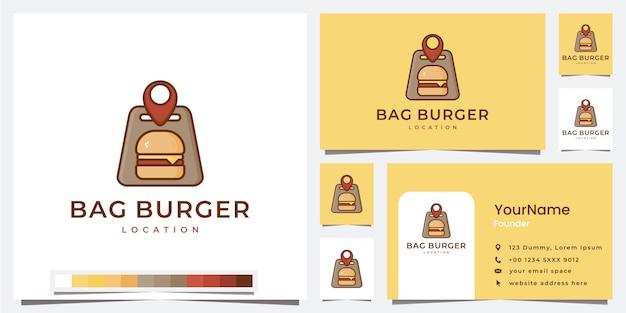 ロゴバッグハンバーガーの場所のテンプレートを設定します Premiumベクター
