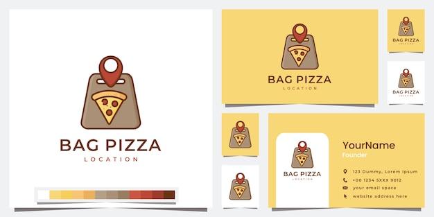 로고 가방 피자 위치 템플릿 설정 프리미엄 벡터