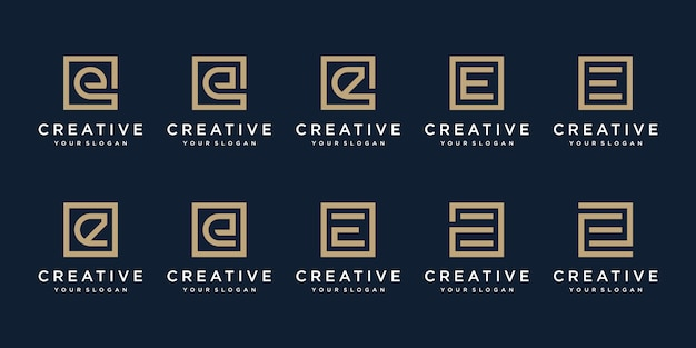 Set of logo design letter e with square style. template Premium Vector