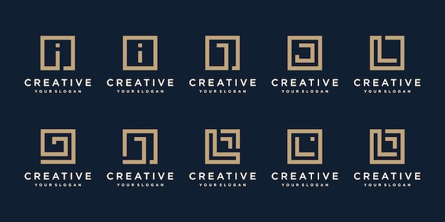 Set of logo design letters i, j and l with square style. Premium Vector