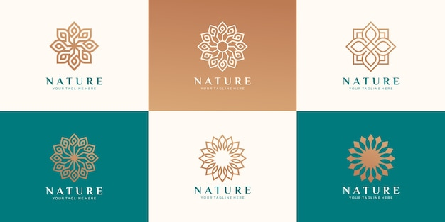 Set of logo floral for beauty, cosmetics, yoga and spa. Premium Vector