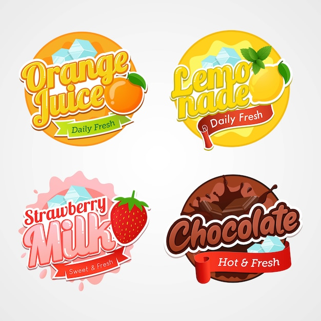 Set of logo labels and badges of fresh drinks Premium Vector