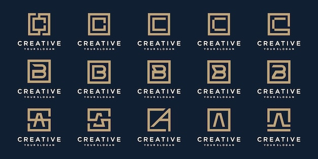 Set of logo  letters a, b and c with square style.  template Premium Vector
