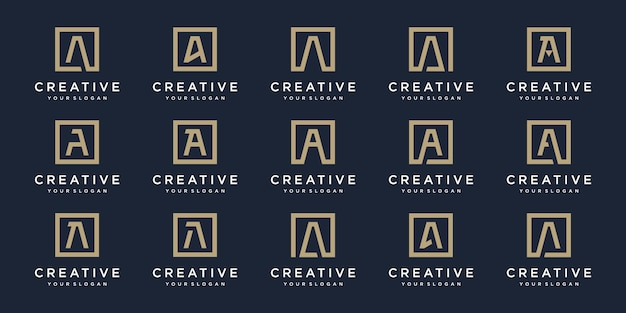 Set of logo  letters a with square style.  template Premium Vector