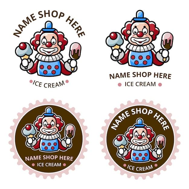 ピエロのマスコットでアイスクリームショップのロゴを設定 Premiumベクター