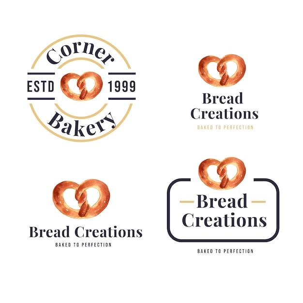Set of logos of bakery shops Free Vector
