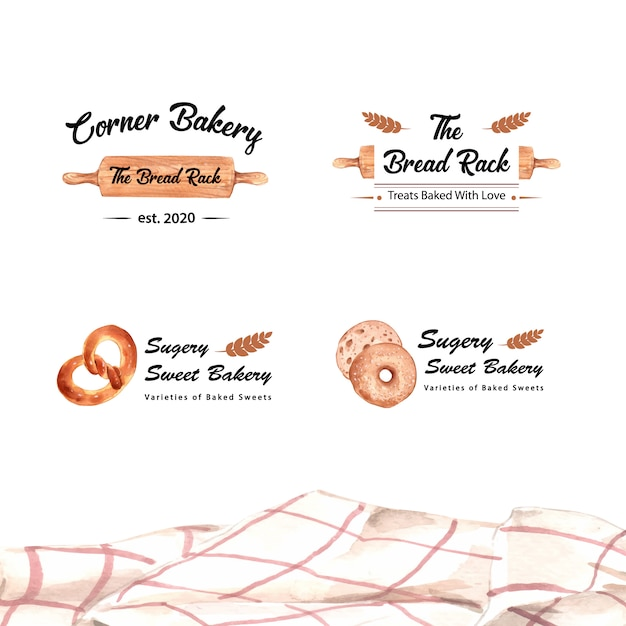 Set of logos of bakery shops Free Vector