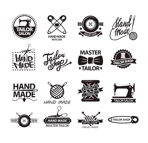 Set of logos for handmade shops. tailor salon advertisement logotypes. Premium Vector