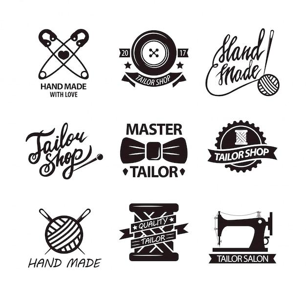 Set of logos for handmade shops Premium Vector