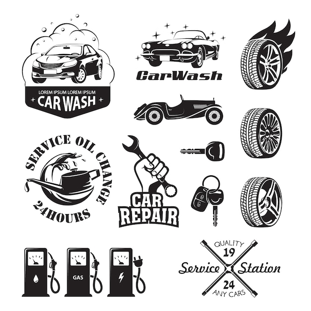 Set of logos and icons relating to service station car: oil change, car wash and polish the car, repair, change of tires, refueling of petrol, gas and electricity Premium Vector