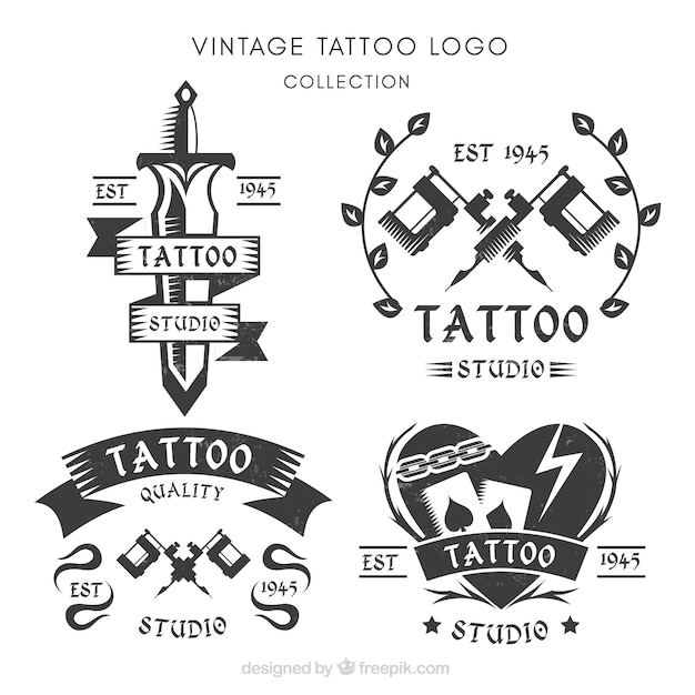 Set of logos for tattoo studios Free Vector
