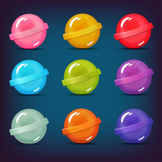 Set of lollipop candies of different colors Premium Vector