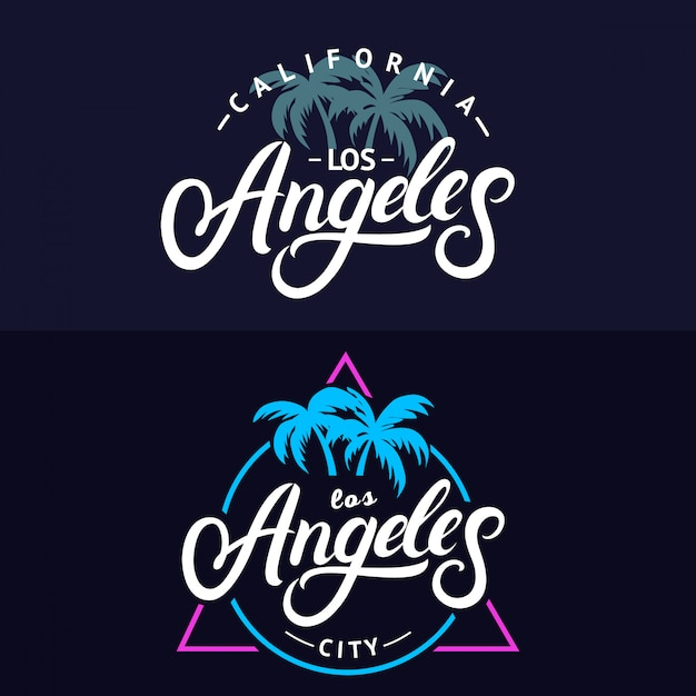 Premium Vector Set Of Los Angeles Hand Written Lettering For Card,Clash Of Clans Builder Hall 4 Base Design
