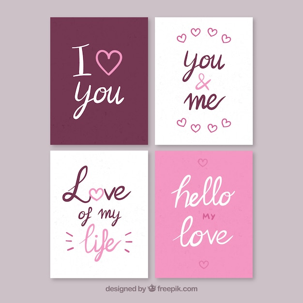 Free Vector Set Of Love Cards With Nice Messages