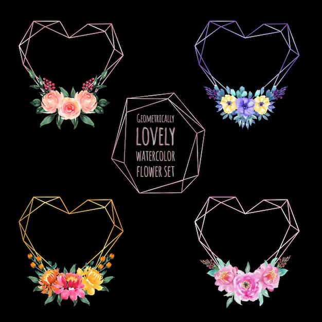 Set of love geometric watercolor flower Premium Vector